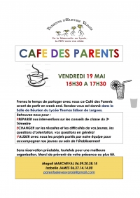 Café des parents vendredi 19 Mai de 15h30 à 17h30