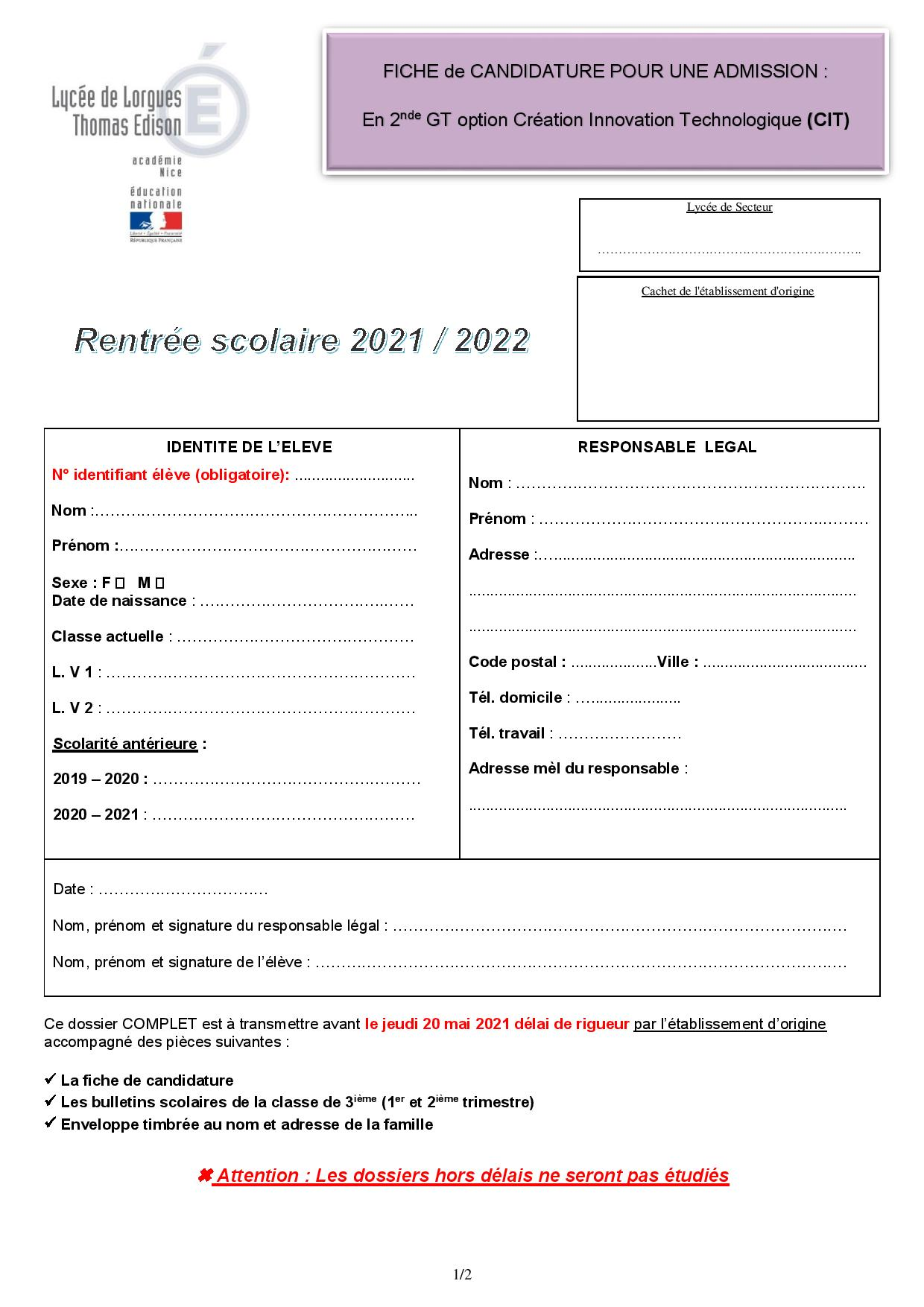 Dossier candidature 2nd OPTION CIT (2021 22)