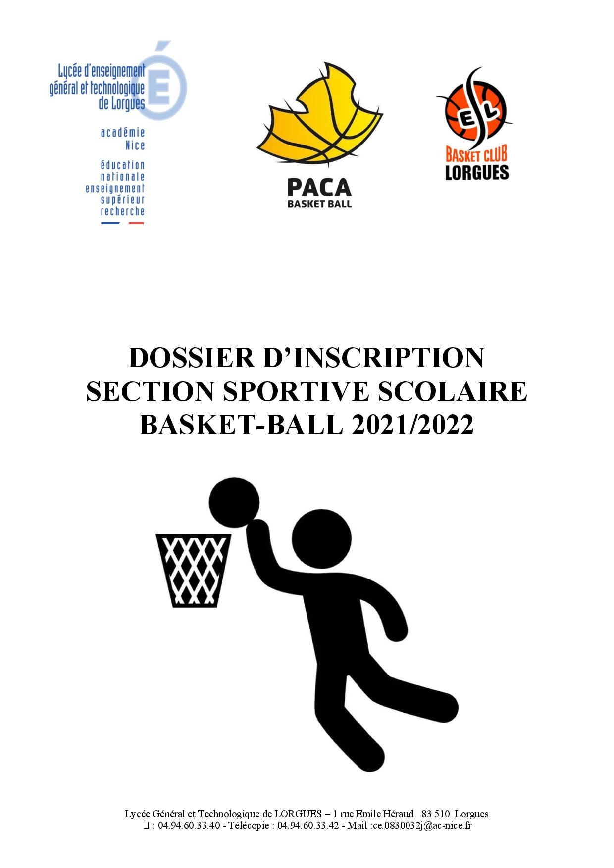 Dossier candidature section BASKET BALL (2021 22)